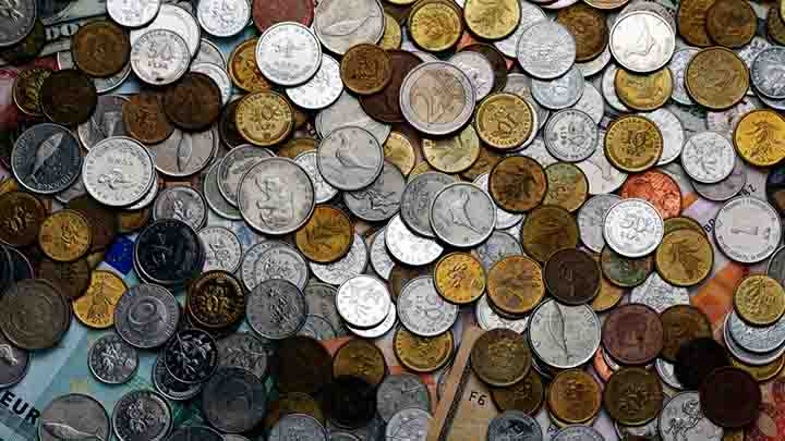 Coins and banknotes from various countries