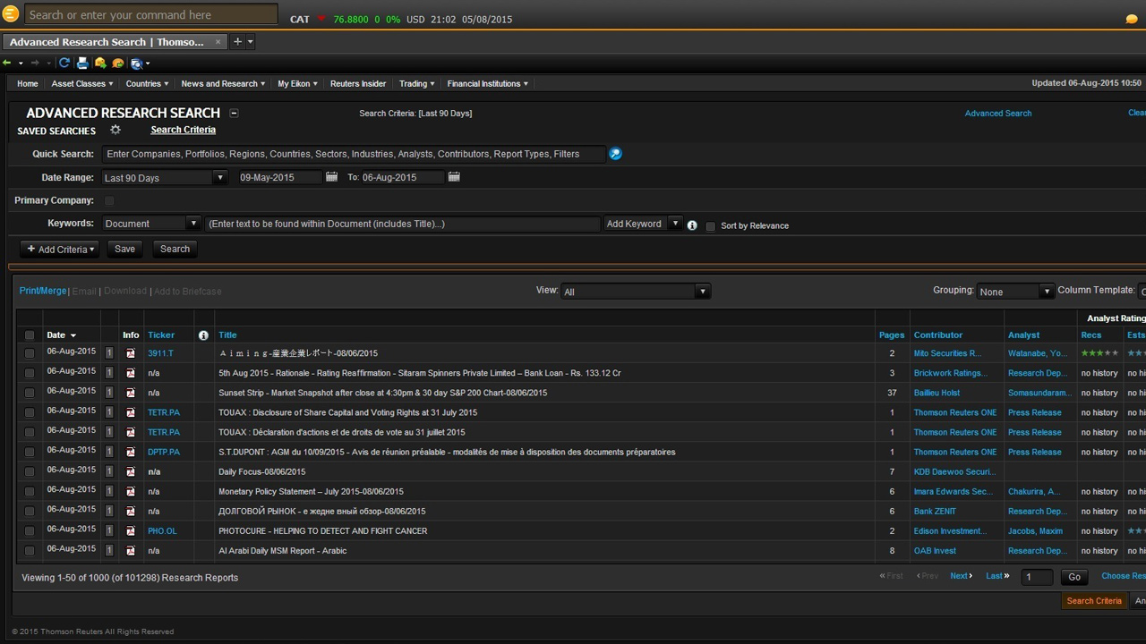 Eikon Investment Banking - Explore published research to support your analysis