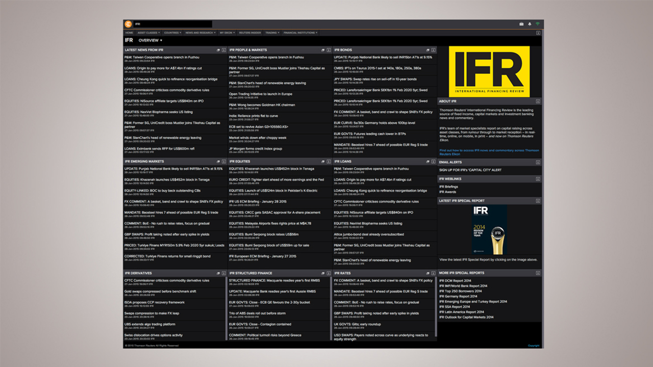 Screenshot of IFR on Eikon - IFR App gives users quick access to IFR's global capital markets and investment banking news and commentary