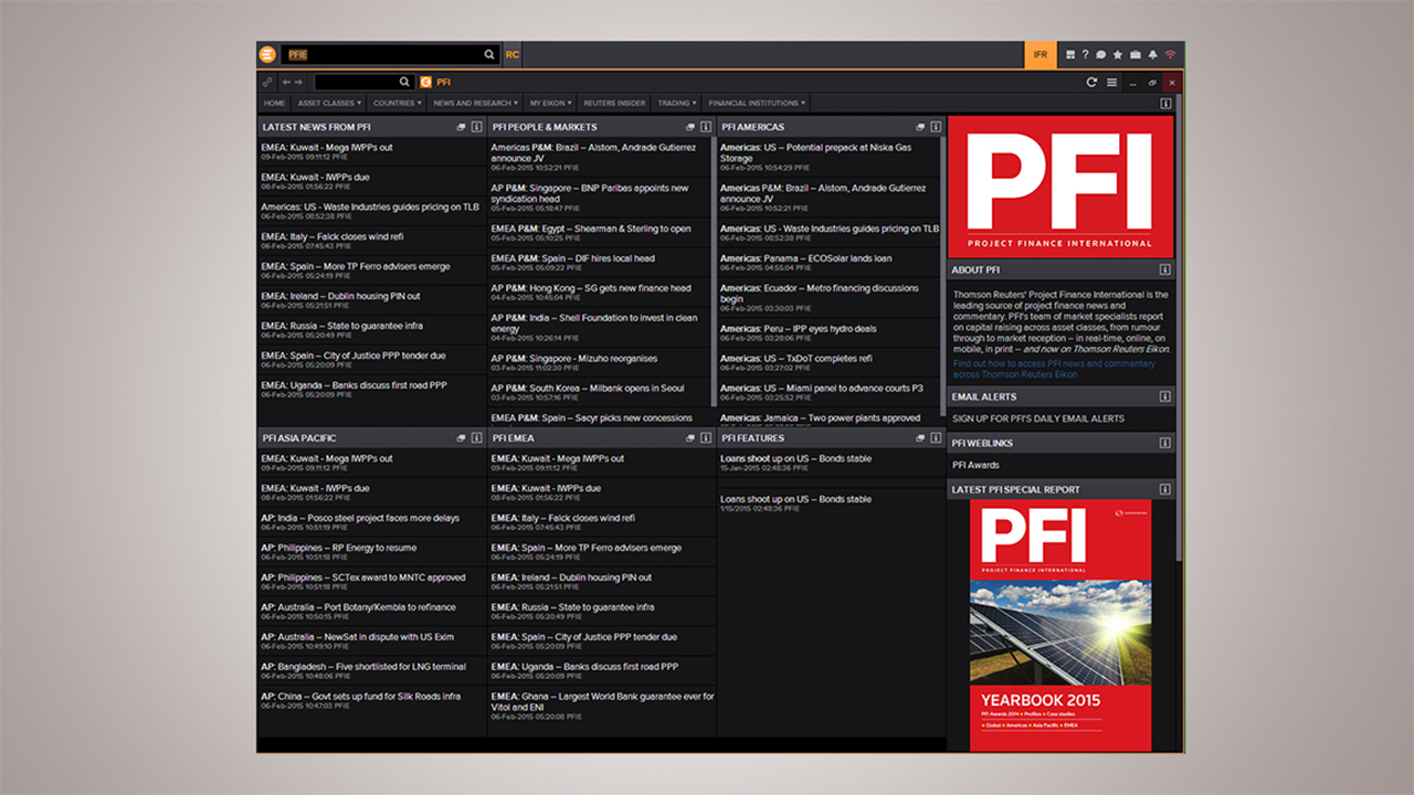 Project Finance International (PFI) market-leading news and analysis now available in Thomson Reuters Eikon