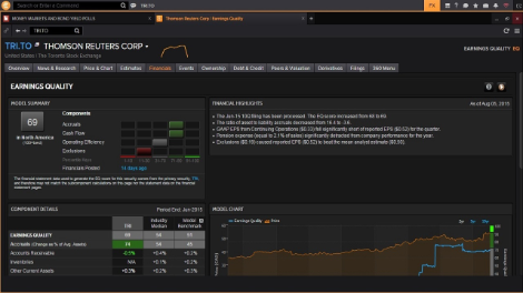 Eikon screenshot of company data earnings quality