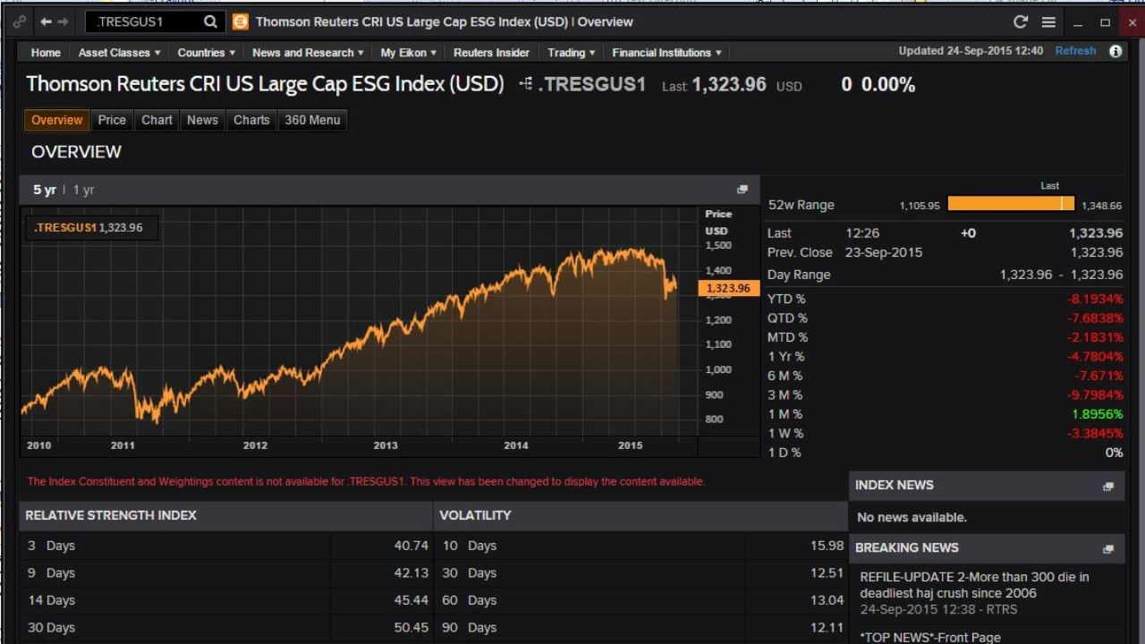 Eikon screen shot showing ESG research family of indices, including composite (ESG) and component (E, S or G) indices