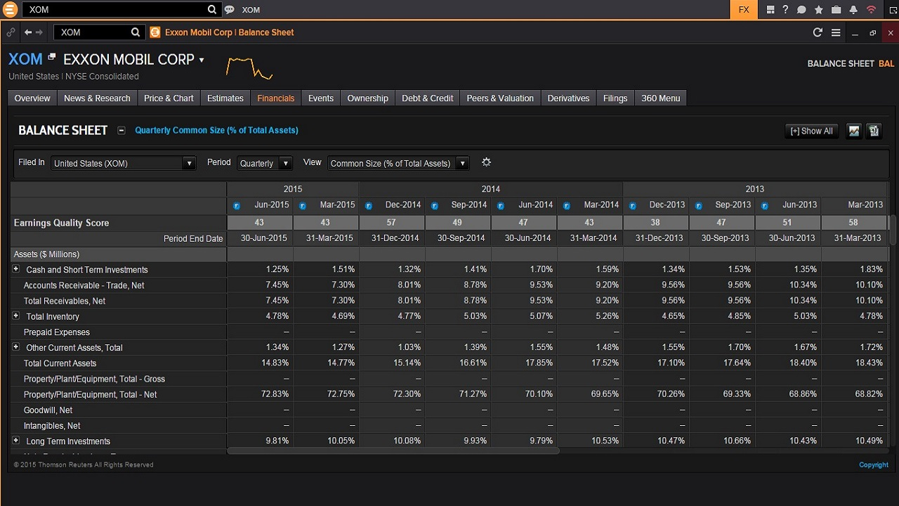 Screenshot of Eikon company financials fundamentals balance sheet