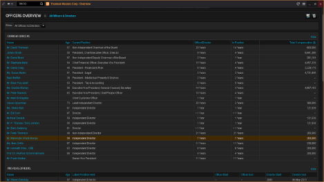 Officers and Directors search overview screenshot