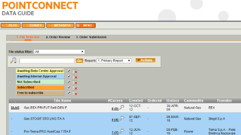 A PointConnect Data Guide screenshot showing the data guide menu